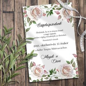 Esküvői meghívó festett rózsával, Esküvő, Meghívó, ültetőkártya, köszönőajándék, Otthon & lakás, Naptár, képeslap, album, Képeslap, levélpapír, Fotó, grafika, rajz, illusztráció, Csodaszép, festett rózsák: részletgazdag kidolgozás, fáradt-rózsaszínes vintage  árnyalatok, klasszi..., Meska