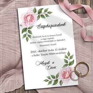 Esküvői meghívó festett rózsával, Esküvő, Meghívó, ültetőkártya, köszönőajándék, Otthon & lakás, Naptár, képeslap, album, Képeslap, levélpapír, Fotó, grafika, rajz, illusztráció, Csodaszép, festett rózsák: részletgazdag kidolgozás, rózsaszínes árnyalatok, klasszikus elrendezés -..., Meska