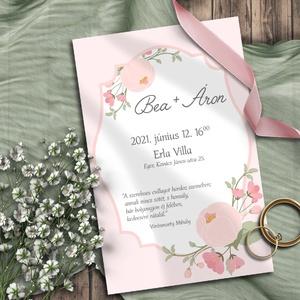 Esküvői meghívó virágokkal, Esküvő, Meghívó, ültetőkártya, köszönőajándék, Otthon & lakás, Naptár, képeslap, album, Képeslap, levélpapír, Fotó, grafika, rajz, illusztráció, Egyszerűségükben is kedves pasztell virágok, bimbók. Bármilyen színben kérheted! A sokféle elrendezé..., Meska