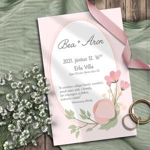 Esküvői meghívó virágokkal, Meghívó, Meghívó & Kártya, Esküvő, Fotó, grafika, rajz, illusztráció, Egyszerűségükben is kedves pasztell virágok, bimbók. Bármilyen színben kérheted! A sokféle elrendezé..., Meska