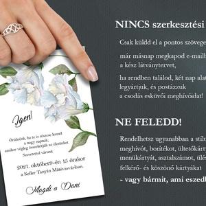 Esküvői meghívó borítékban - jégkék futóvirággal (viori) - Meska.hu