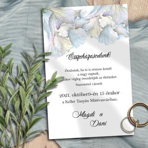 Esküvői meghívó jégkék futóvirággal, Esküvő, Meghívó, ültetőkártya, köszönőajándék, Otthon & lakás, Naptár, képeslap, album, Képeslap, levélpapír, Fotó, grafika, rajz, illusztráció, Halvány jégkék árnyalatokban pompázó futónövény (lonc, hajnalka féle) szövi keresztül ezeket a meghí..., Meska