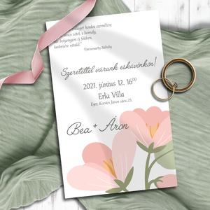 Esküvői meghívó nagy virágokkal, Esküvő, Meghívó, ültetőkártya, köszönőajándék, Otthon & lakás, Naptár, képeslap, album, Képeslap, levélpapír, Fotó, grafika, rajz, illusztráció, Egyszerűségükben is kedves pasztell virágok, bimbók. Bármilyen színben kérheted! A sokféle elrendezé..., Meska