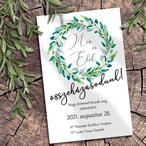 Esküvői meghívó zöldellő koszorú, Esküvő, Meghívó, ültetőkártya, köszönőajándék, Otthon & lakás, Naptár, képeslap, album, Képeslap, levélpapír, Fotó, grafika, rajz, illusztráció, Sokféle zöld árnyalatban pompázó leveles ágakból font koszorú díszíti ezeket a meghívókat. A sokféle..., Meska