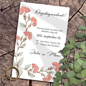 Esküvői meghívó pasztelkréta virágokkal, Meghívó, Meghívó & Kártya, Esküvő, Fotó, grafika, rajz, illusztráció, Rusztikus mintakollekció vadvirágokkal, pasztellkrétával rajzolva. A sokféle elrendezés közül válasz..., Meska