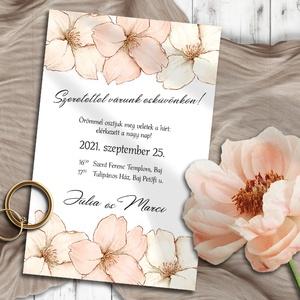 Esküvői meghívó barack virág, Esküvő, Meghívó, ültetőkártya, köszönőajándék, Otthon & lakás, Naptár, képeslap, album, Képeslap, levélpapír, Fotó, grafika, rajz, illusztráció, Kedves, barackvirág színű virágok díszítik ezeket a meghívókat, finom, pasztell árnyalatban.\n\nNINCS ..., Meska