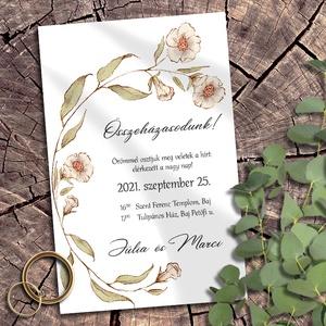 Esküvői meghívó pasztelkréta virágokkal, Esküvő, Meghívó, ültetőkártya, köszönőajándék, Otthon & lakás, Naptár, képeslap, album, Képeslap, levélpapír, Fotó, grafika, rajz, illusztráció, Rusztikus mintakollekció vadvirágokkal, pasztellkrétával rajzolva. A sokféle elrendezés közül válasz..., Meska
