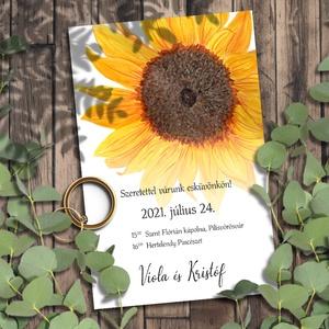 Esküvői meghívó napraforgó, Esküvő, Meghívó, Meghívó & Kártya, Festett sárga napraforgóktól lesznek igazi nyári hangulatúak ezek a meghívók.  NINCS SZERKESZTÉSI DÍ..., Meska