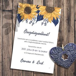 Esküvői meghívó modern napraforgó, Esküvő, Meghívó, ültetőkártya, köszönőajándék, Fotó, grafika, rajz, illusztráció, Napraforgók - egy kicsit másképp. A festett virágok a vékony barna kontúroktól lesznek modern hatású..., Meska