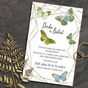 Esküvői meghívó pillangó modern kerettel, Esküvő, Meghívó, ültetőkártya, köszönőajándék, Otthon & lakás, Naptár, képeslap, album, Képeslap, levélpapír, Fotó, grafika, rajz, illusztráció, Ha kedveled a meglepő párosításokat, ez tetszeni fog: színes, vintage jellegű pillangók arany színű,..., Meska