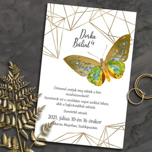 Esküvői meghívó pillangó modern kerettel, Esküvő, Meghívó, ültetőkártya, köszönőajándék, Fotó, grafika, rajz, illusztráció, Ha kedveled a meglepő párosításokat, ez tetszeni fog: színes, vintage jellegű pillangók arany színű,..., Meska