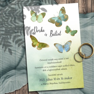 Esküvői meghívó pillangókkal, Esküvő, Meghívó, ültetőkártya, köszönőajándék, Fotó, grafika, rajz, illusztráció, Színes, vintage jellegű pillangók óarany részletekkel, akvarell háttéren. A mintán láthatón kívül mé..., Meska