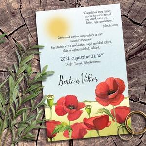 Esküvői meghívó pipacs, Esküvő, Meghívó, ültetőkártya, köszönőajándék, Otthon & lakás, Naptár, képeslap, album, Képeslap, levélpapír, Fotó, grafika, rajz, illusztráció, Pipacsoktól piroslik ez a meghívó sorozat, melyben ezt a jól ismert vadvirágot sokféle elrendezésben..., Meska