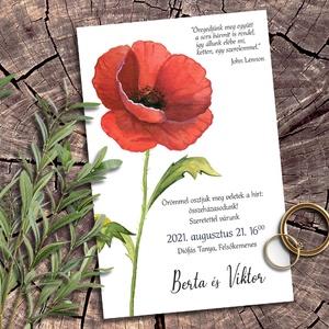 Esküvői meghívó pipacs, Meghívó, Papír írószer, Otthon & Lakás, Fotó, grafika, rajz, illusztráció, Pipacsoktól piroslik ez a meghívó sorozat, melyben ezt a jól ismert vadvirágot sokféle elrendezésben..., Meska