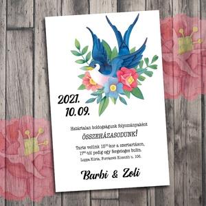 Esküvői meghívó old school mintákkal, Meghívó, Meghívó & Kártya, Esküvő, Fotó, grafika, rajz, illusztráció, Ezeket a mintákat a \'40-es évek Amerikájának színes tetoválásai ihlették. Színpompás virágok steam p..., Meska