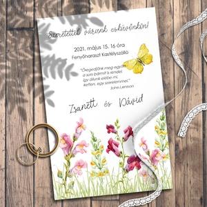 Esküvői meghívó vadvirágos rét akvarellel festve, Meghívó, Meghívó & Kártya, Esküvő, Fotó, grafika, rajz, illusztráció, Kedves vadvirágok akvarellel festve. \nEhhez a kollekcióhoz kevés színt használtam, de azoknak sok-so..., Meska