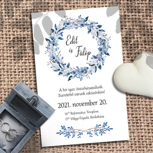 Esküvői meghívó kék koszorú, Meghívó, Meghívó & Kártya, Esküvő, Fotó, grafika, rajz, illusztráció, Koszorú kékes ágakból. A kék sokféle árnyalata jelenik meg a festett leveleken: halvány jégkéktől a ..., Meska