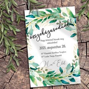 Esküvői meghívó zöldellő koszorú, Esküvő, Meghívó, Meghívó & Kártya, Sokféle zöld árnyalatban pompázó leveles ágakból font koszorú díszíti ezeket a meghívókat. A sokféle..., Meska
