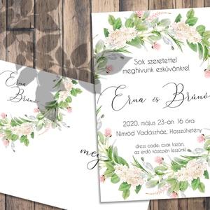 Esküvői meghívó tavaszi virágok mezei koszorú, Meghívó, Meghívó & Kártya, Esküvő, Fotó, grafika, rajz, illusztráció, Pasztellkrétával rajzolt, színpompás tavaszi virágok özöne - sokféle elrendezés közül választhatsz.\n..., Meska
