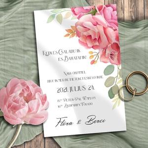 Esküvői meghívó színpompás virágokkal, Meghívó, Meghívó & Kártya, Esküvő, Fotó, grafika, rajz, illusztráció, Vidám, színpompás virágokkal gazdagon díszített kollekció. A mintát most is sokféle elrendezésben és..., Meska