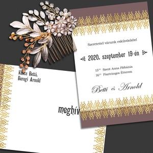 Esküvői meghívó csipkeszegéllyel, Meghívó, Meghívó & Kártya, Esküvő, Fotó, grafika, rajz, illusztráció, Ezt a meghívót arany színű csipkeszegély díszíti. Ha nem szereted az aranyat, más színű csipkével is..., Meska