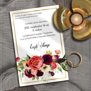 Esküvői meghívó tarka-barka virágözön, Esküvő, Meghívó, ültetőkártya, köszönőajándék, Otthon & lakás, Naptár, képeslap, album, Képeslap, levélpapír, Fotó, grafika, rajz, illusztráció, Színpompás virágok sokasága díszíti ezt a sorozatot. Sokféle elrendezésben - válaszd ki a hozzátok l..., Meska