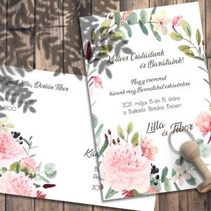 Esküvői meghívó tavaszi virágokkal, Esküvő, Meghívó, ültetőkártya, köszönőajándék, Otthon & lakás, Naptár, képeslap, album, Képeslap, levélpapír, Fotó, grafika, rajz, illusztráció, Romantikus pasztellszínű virágok díszítik ezt a meghívót.\n\nNINCS SZERKESZTÉSI DÍJ!\nVéleményem szerin..., Meska