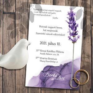 Esküvői meghívó levendula, Esküvő, Meghívó & Kártya, Meghívó, Fotó, grafika, rajz, illusztráció, A jól bevált naturális levendulát egy színben passzoló lila tintafolttal egészítettem ki - ez mostan..., Meska