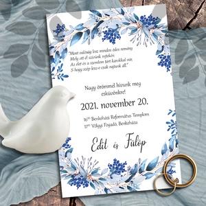 Esküvői meghívó kék koszorú, Esküvő, Meghívó & Kártya, Meghívó, Fotó, grafika, rajz, illusztráció, Koszorú kékes ágakból. A kék sokféle árnyalata jelenik meg a festett leveleken: halvány jégkéktől a ..., Meska