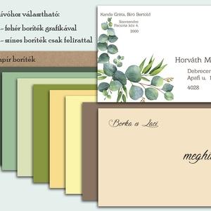 Esküvői meghívó eukaliptusz levelekkel greenery stílusban - esküvő - meghívó & kártya - meghívó - Meska.hu