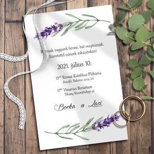 Esküvői meghívó levendula, Esküvő, Meghívó & Kártya, Meghívó, Fotó, grafika, rajz, illusztráció, Kékeslilás levendulával díszítettem ezeket a meghívókat. Sokféle elrendezésben variáltam - válaszd k..., Meska