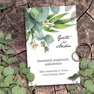 Esküvői meghívó eukaliptusz levelekkel greenery stílusban, Esküvő, Meghívó & Kártya, Meghívó, Fotó, grafika, rajz, illusztráció, Meska