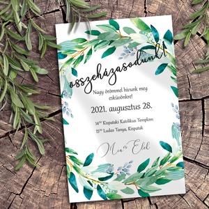 Esküvői meghívó zöldellő koszorú, Esküvő, Meghívó & Kártya, Meghívó, Fotó, grafika, rajz, illusztráció, Sokféle zöld árnyalatban pompázó leveles ágakból font koszorú díszíti ezeket a meghívókat. A sokféle..., Meska