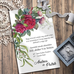 Esküvői meghívó klasszikus vörös rózsa grafikával, Esküvő, Meghívó & Kártya, Meghívó, A legklasszikusabb virág, amellyel egy férfi kifejezheti érzéseit egy nő iránt: a vörös rózsa. Ebben..., Meska