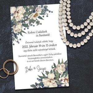 Esküvői meghívó bézs virágokkal, Esküvő, Meghívó & Kártya, Meghívó, Fotó, grafika, rajz, illusztráció, A bézs virágok és a szürkés-zöld levelek stílusukban a szecesszió hangulatát idézik meg. A sokféle e..., Meska