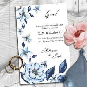 Esküvői meghívó kék virágokkal, Esküvő, Meghívó & Kártya, Meghívó, Fotó, grafika, rajz, illusztráció, A festett halványkék virágokból álló kompozíciókat a sötétkék levelek teszik különlegessé és modernn..., Meska