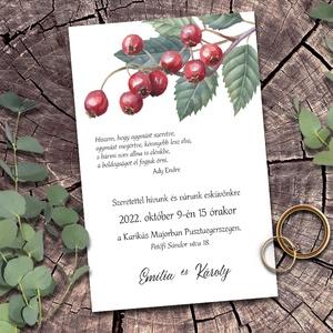 Esküvői meghívó csipkebogyó, Esküvő, Meghívó & Kártya, Meghívó, Fotó, grafika, rajz, illusztráció, Érett sötétpiros csipkebogyók virulnak a szürkészöld vadrózsa levelek között. Egyszerűség és termész..., Meska