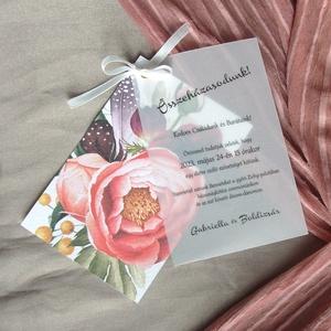 Pausz esküvői meghívó tarka virágokkal, Esküvő, Meghívó & Kártya, Meghívó, Fotó, grafika, rajz, illusztráció, Ezeknek a meghívóknak a különlegessége a pauszpapír áttetszőségében rejlik. A pausz papírra kerül a ..., Meska
