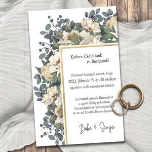 Esküvői meghívó bézs virágokkal, Esküvő, Meghívó & Kártya, Meghívó, Fotó, grafika, rajz, illusztráció, A bézs virágok és a szürkés-zöld levelek stílusukban a szecesszió hangulatát idézik meg. A keskeny a..., Meska