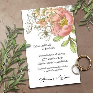 Esküvői meghívó akvarellel, Esküvő, Meghívó & Kártya, Meghívó, Fotó, grafika, rajz, illusztráció, A csodás színátmeneteket képező, összefolyó akvarell motívumoknak a bézs kontúrok adnak egyedi karak..., Meska