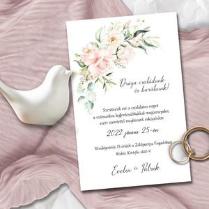 Esküvői meghívó romantikus pasztell rózsa, Esküvő, Meghívó & Kártya, Meghívó, Fotó, grafika, rajz, illusztráció, Ha valami igazán romantikusra vágysz: pasztell virágözön, középpontban halvány-rózsaszín rózsákkal. ..., Meska