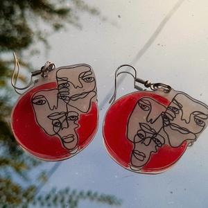 Arcos fülbevaló, Ékszer, Fülbevaló, Lógó fülbevaló, Zsugorka, Zsugorfóliából készült saját mintás fülbevaló., Meska