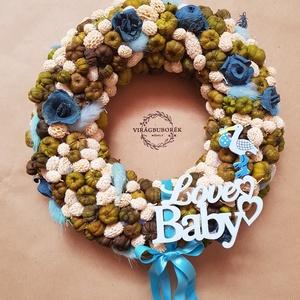 Babaváró kopogtató - Kisfiús, Otthon & lakás, Lakberendezés, Ajtódísz, kopogtató, Virágkötés, A babaváró kopogtatókkal jelezhetjük, hogy a házba/lakásba egy kisbaba érkezett vagy hamarosan érkez..., Meska