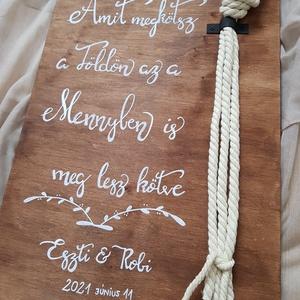 Kötélceremónia - Kalligráf esküvői tábla , Esküvő, Dekoráció, Tábla & Jelzés, Festett tárgyak, Az esküvői kötélceremóniára használható tábla mérete: 35*50 cm \n, Meska