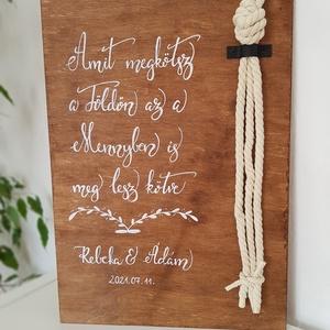 Kötélceremónia - Kalligráf esküvői tábla , Esküvő, Dekoráció, Tábla & Jelzés, Festett tárgyak, A kötél ceremónia során összefont kötelek szimbolizálják, hogy életetek összefonódott és közösen fol..., Meska