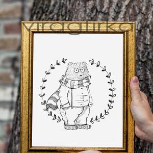 Medve illusztráció- PRINT, Otthon & Lakás, Fotó, grafika, rajz, illusztráció, Fekete-fehér rajz, gyerekszoba dekorációként, színezőként is használható.\nA print mérete A/4, 200 gr..., Meska