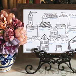 Házikós öröknaptár - PRINT, Otthon & Lakás, Dekoráció, Falinaptár & Öröknaptár, Fotó, grafika, rajz, illusztráció, Fekete-fehér rajz, dekorációként, színezőként is használható.\nA print mérete A/4, 200 grammos papírr..., Meska