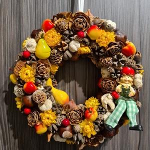 Őszi ajtódísz, kopogtató, Otthon & Lakás, Dekoráció, Ajtódísz & Kopogtató, Virágkötés, Naranc-barna színekben készült őszi hangulatú ajtódísz, termések és száraz virágok felhasználásával...., Meska