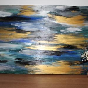 Vihar után a parton- absztrakt festmény, Otthon & lakás, Képzőművészet, Festmény, Akril, Lakberendezés, Falikép, Festészet, Vihar után a parton:\n70x50-es absztrakt akril festmény, feszített vásznon eredetigazolással. Keretez..., Meska