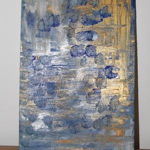 A víz - absztrakt festmény, Otthon & lakás, Dekoráció, Kép, Képzőművészet, Festmény, Akril, Festészet, Fotó, grafika, rajz, illusztráció, A víz- 30x20-as absztrakt akril festmény, fa lapon. Nem igényel keretezést., Meska